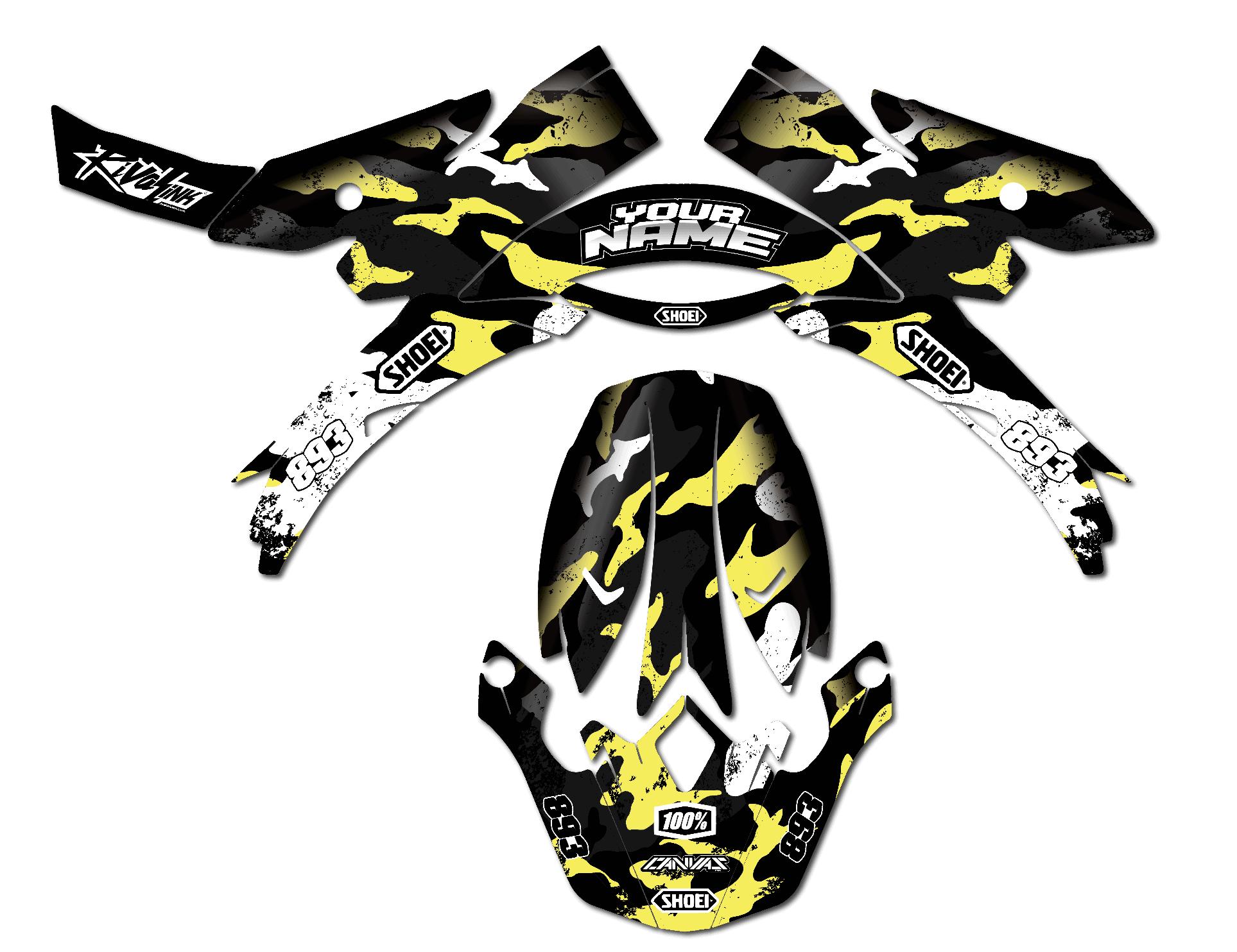 Neon yellow kit rival ink design co custom motocross graphics - Camo Grunge V2 Yellow
