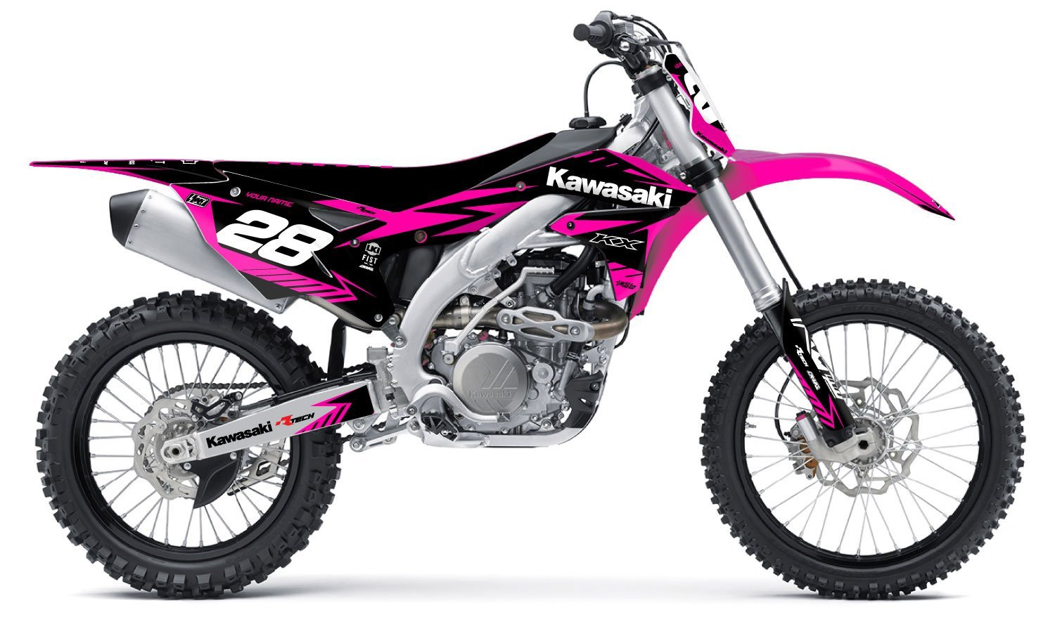 kawasaki neon pink kit   rival ink design co custom