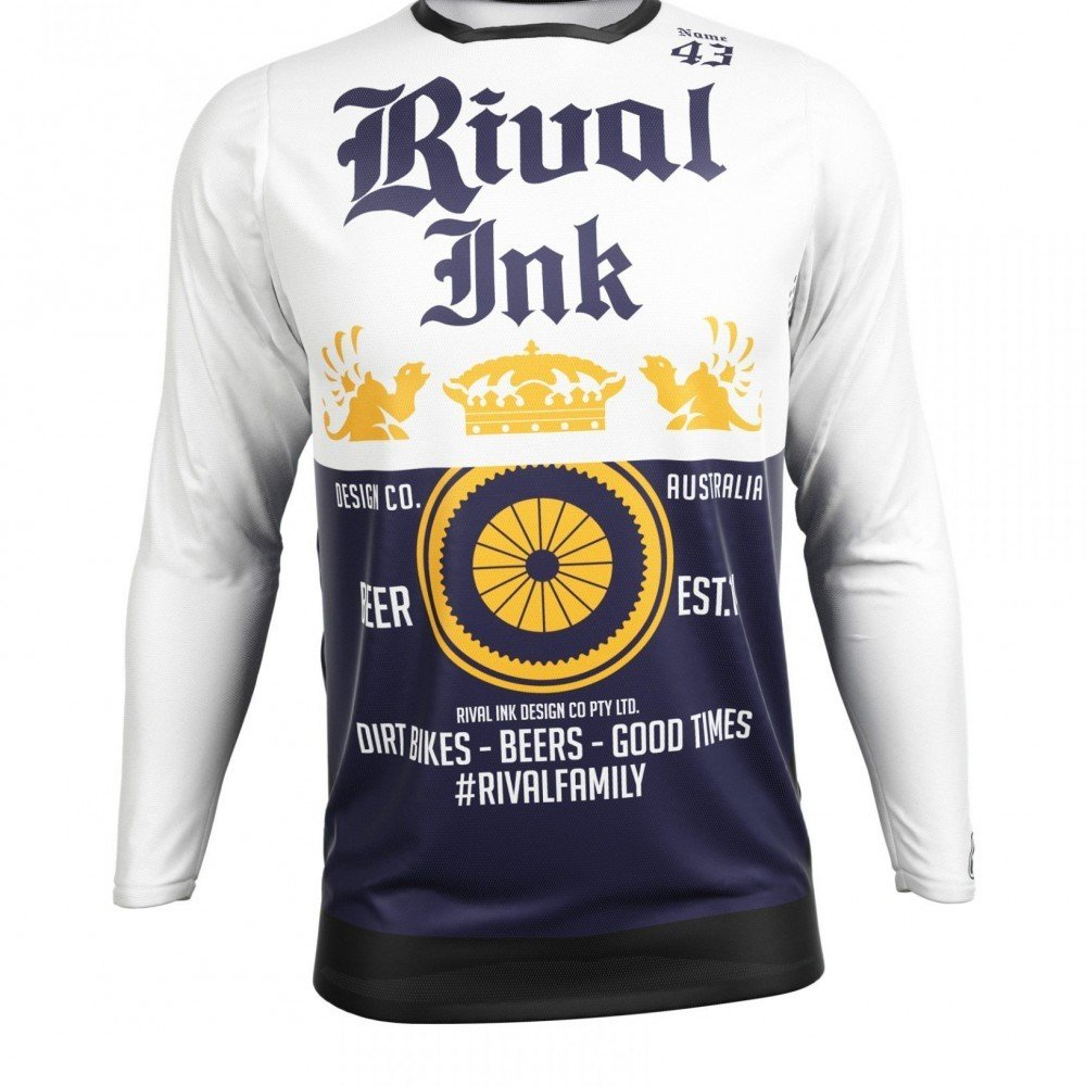 Neon yellow kit rival ink design co custom motocross graphics - Premium Fit Custom Sublimated Jersey Beer Me