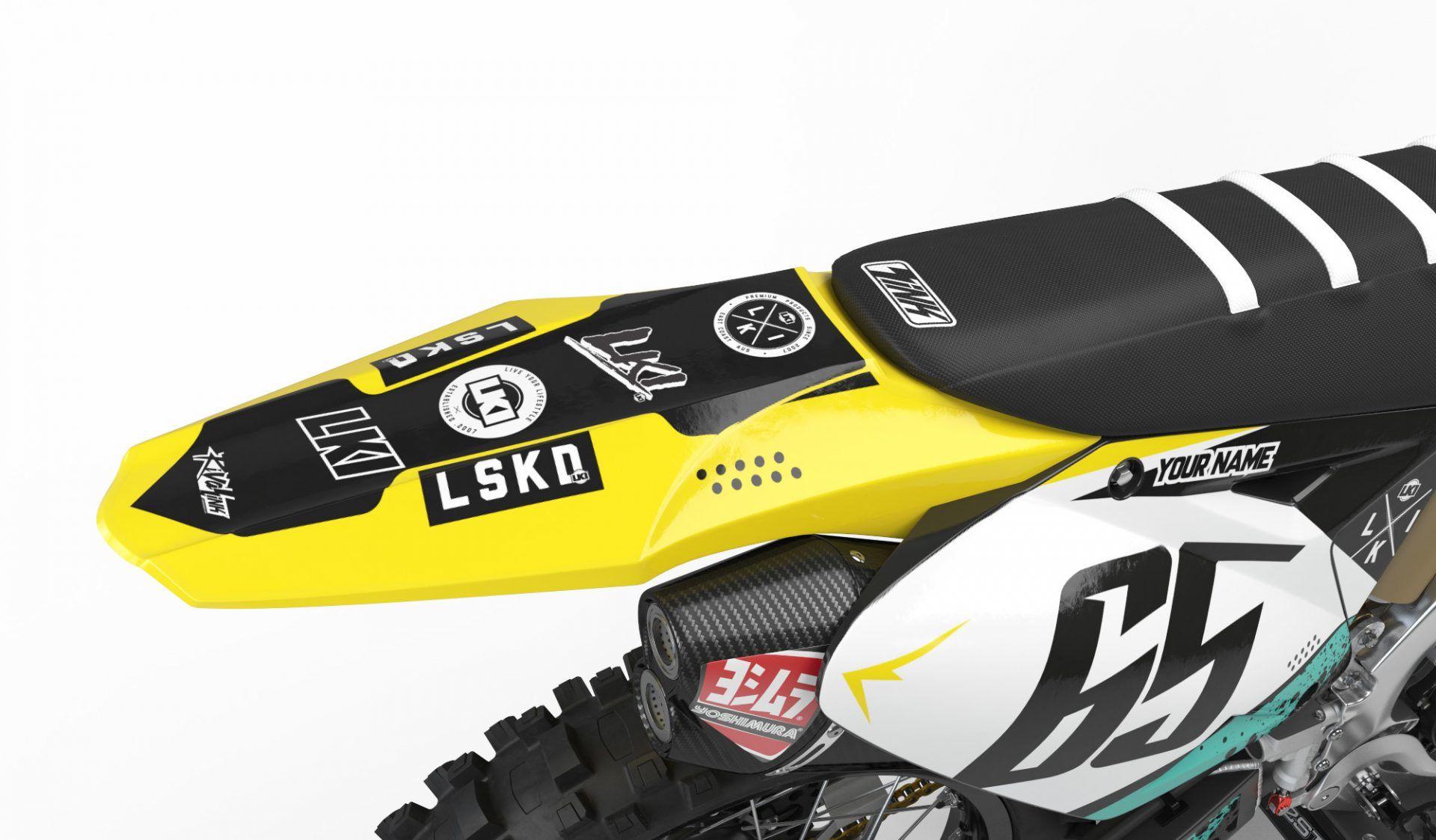 Neon yellow kit rival ink design co custom motocross graphics - Lki Suzuki Lskd17 Kit 133 97 200 97 Official Loosekid Industries Range Of Custom Graphics